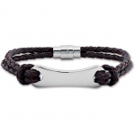 Leather & Stainless Steel Bracelet Item #- LEG048-303-P
